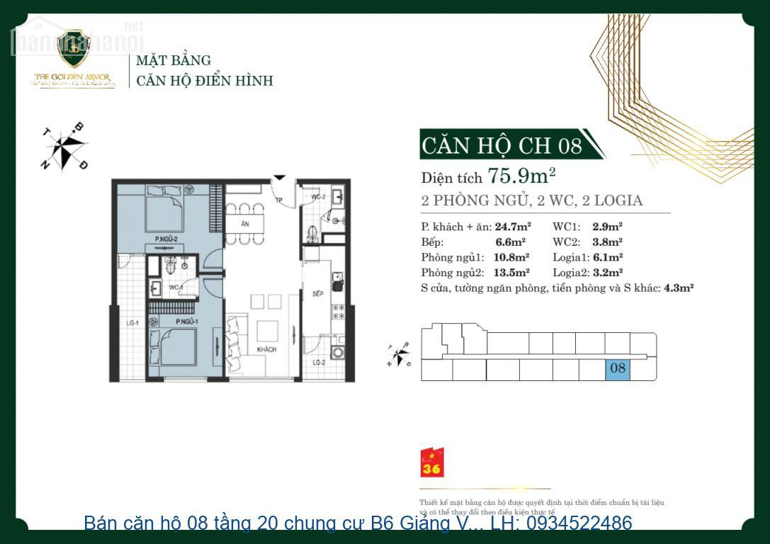 Bán căn hộ 08 tầng 20 chung cư B6 Giảng Võ BCĐN, DT 75m2