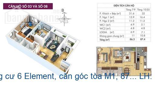Bán CH chung cư 6 Element, căn góc tòa M1, 87m2, giá bán nhanh 3.4 tỷ